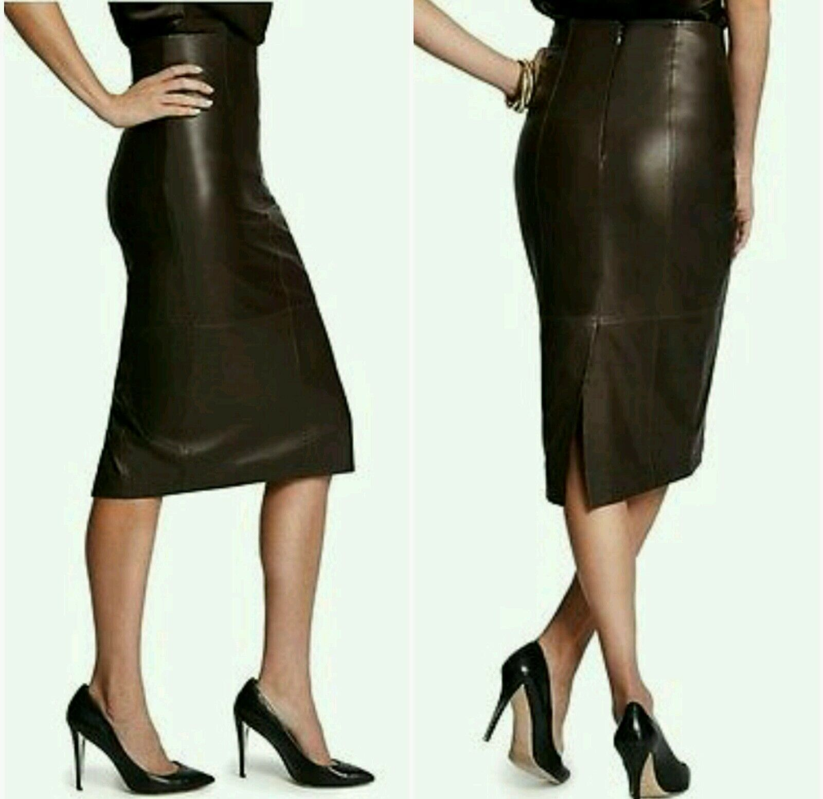 NWT Guess by Marciano brown Farrow 100% Leather Skirt size 4