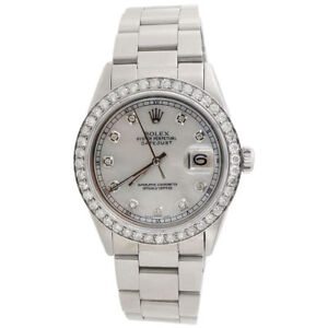 Diamond-Rolex-Datejust-Watch-Mens-36mm-Oyster-Band-White-Mother-Pearl-Dial-2-Ct