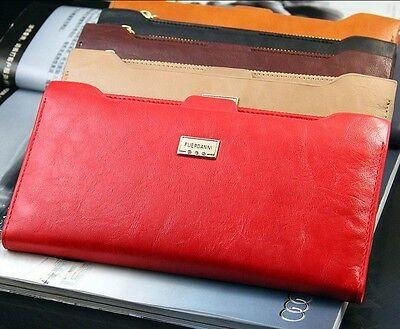 New Woman Genuine Leather Zipper Long Slim Bifold Card Wallet Purse