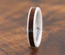 4MM  White Ceramic Inlaid Koa Wood Ring Flat