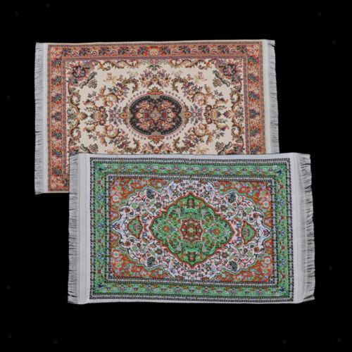 2 Stücke 1//12 Puppenhaus Teppiche Gewebt Miniatur Teppiche Spielzeug Möbel