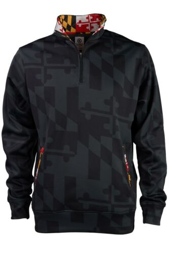 Maryland Flag Printed Quarter-Zip Pullover wit h2 Side Pockets