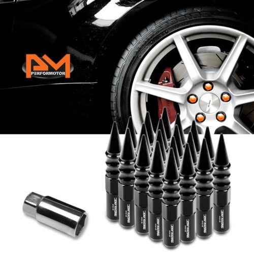 M12X1.5 Black JDM Spiked Cap Hex Wheel Lug Nuts+Extension 20mmx123mm Tall 20Pc