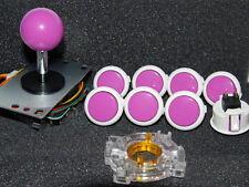Arcade Parts Sanwa Mix White Violet Buttons & Violet Joystick GT-Y Wire set of 8