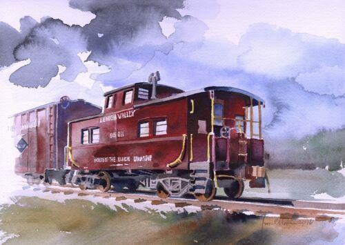 PA LV #95011 Sayre Lehigh Valley RR Red Caboose James Mann Train Art Prints
