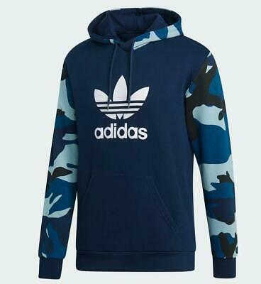 Adidas Men's Originals Camouflage Hoodie Long Sleeve Sweater Navy Camo DV2064 | eBay