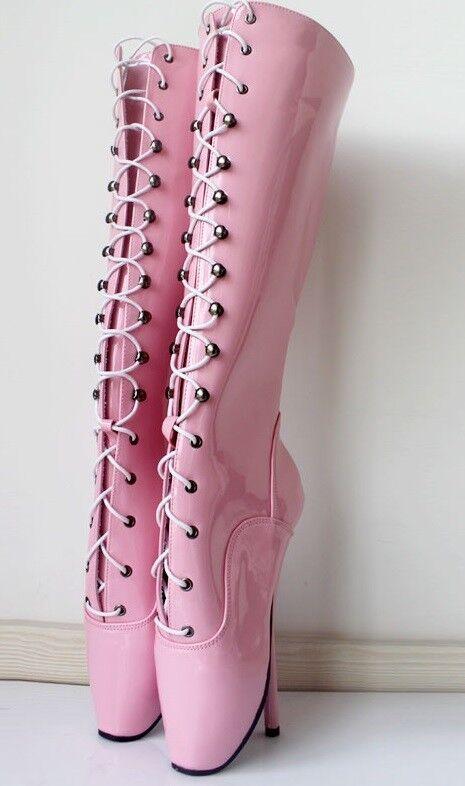 Pink PVC hautes Ballet Bottes, High Heals, 18 sexy boot 18 Heals, cms 4c9fb9