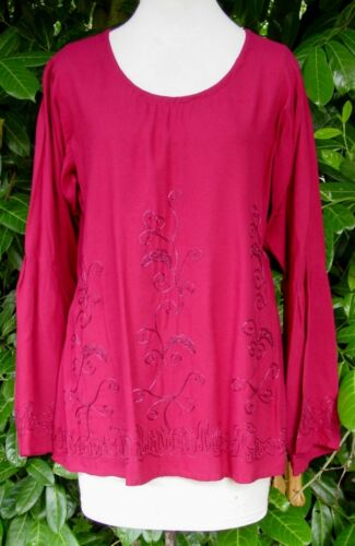 EAON PLUS Gorgeous Pink Embroidered Tunic Top SIZES 16-22