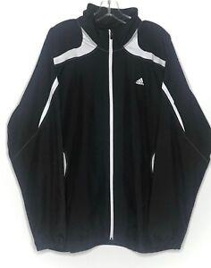 Adidas-Mens-Full-Zip-Windbreaker-Jacket-3-Stripe-Mesh-Lined-Black-White-Sz-L