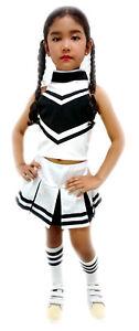 Kinder Madchen Cheerleader Uniform Kostum Fasching Halloween Weiss