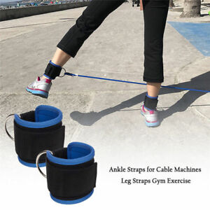 Ankle-D-Ring-Straps-Gym-Weight-Lifting-Fitness-Exercise-Cuff-Pulley-Attachment