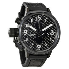 U-Boat Flightdeck Black Stainless Leather Automatic Mens Watch 6203