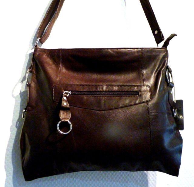 Umhängetasche Tasche Leder - Cinino - Shopper - dunkelbraun Damentasche