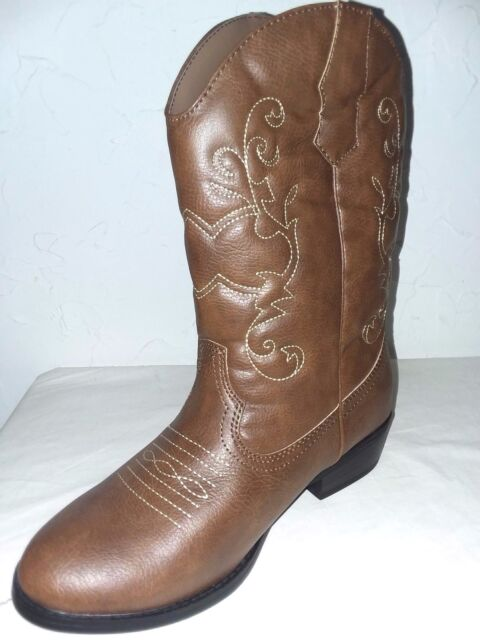 4 Youth Cowboy//Girl Size 2 6 BROWN Designed Premium Mid-Calf Faded Glory 3