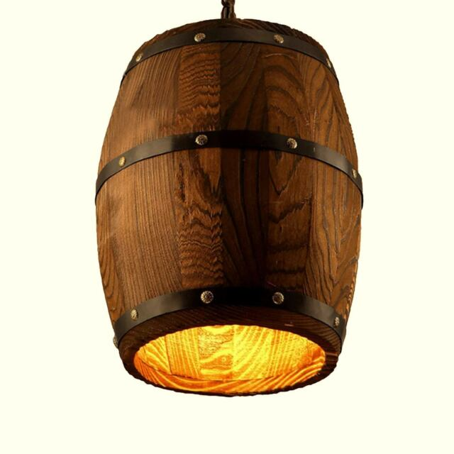 Wood Wine Barrel Pendant Lamp Hanging