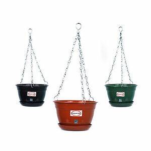 HANGING PLANTER FLOWER POT WITH METAL CHAIN WITH BASE COMBO OFFER 6qty