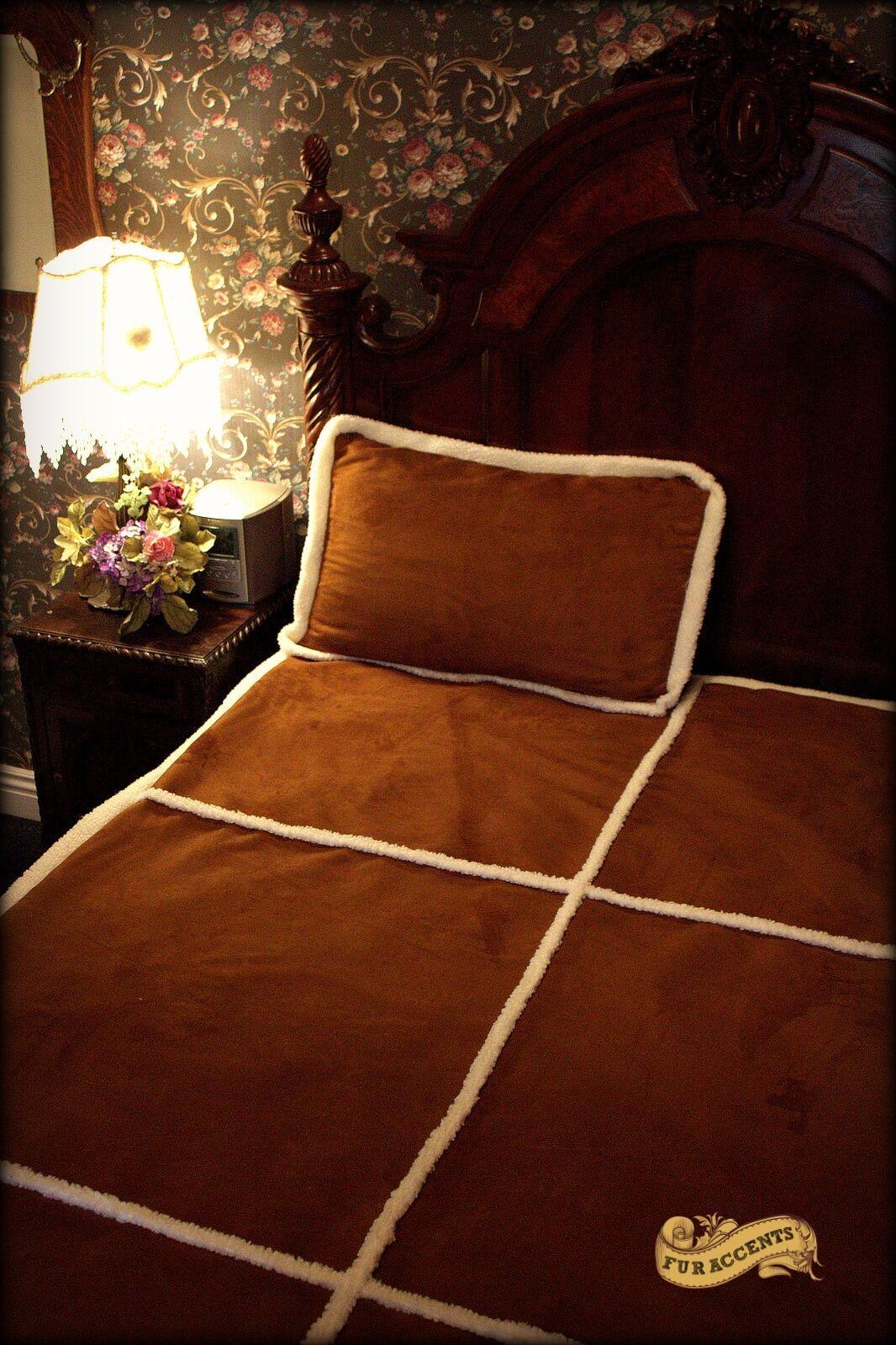 FUR ACCENTS Sheepskin Faux Fur Bedspread Ultra Suede Throw Queen Size 90''x90''