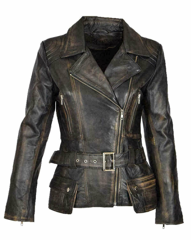Vintage Women Cafe Racer Black Distressed Biker Real Leather Motorcycle Jacket