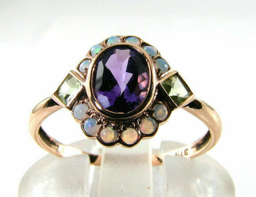 Details about  /14k Rose Gold Over Amethyst Peridot Fire Opal Art Deco Cluster Ring 2.80Ct