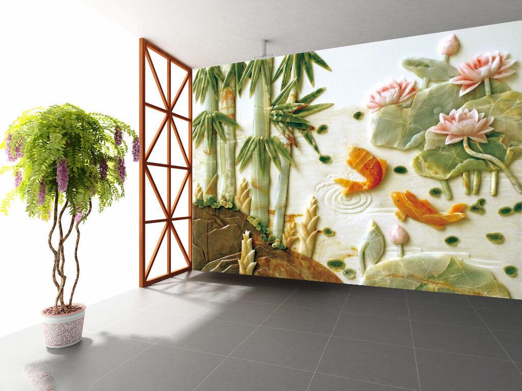 3D goldfish Bamboo Wallpaper Murals Wall Print Wallpaper Mural AJ WALL AU Lemon