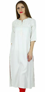 Bimba-Women-White-Rayon-Straight-Kurta-Kurti-3-4-Sleeve-Casual-Summer-Tunic