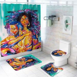 3-4Pcs-Set-African-Man-Non-Slip-Rug-Lid-Toilet-Cover-Bath-Mat-Shower-Curtain