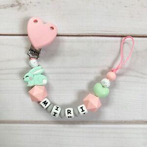 Schnullerkette Schnullerband Nuckelkette mit Namen rosa grau weiß Krone Silikon