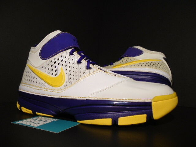 2007 Nike Zoom KOBE II 2 LAKERS CARPE DIEM WHITE PURPLE YELLOW 316022-171 10.5