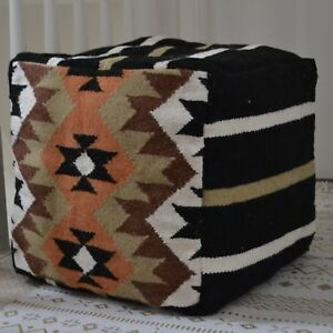Cool Details About Beanbag Wool Kilim Fabric Pouf Pouffe Cover 40Cm 16 Cube Hand Knotted Ottoman Gmtry Best Dining Table And Chair Ideas Images Gmtryco