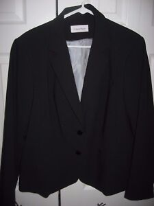 Womens-Black-CALVIN-KLEIN-Lined-Stretch-Blazer-Jacket-Large-Petite