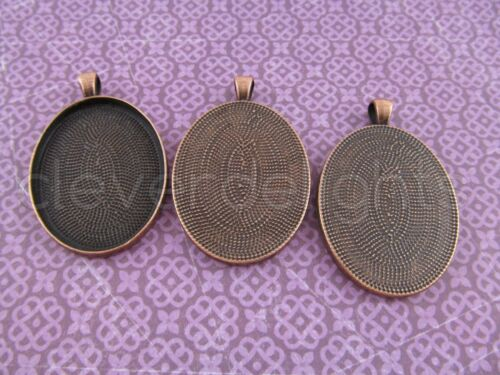 30x40mm 10 Oval Pendant Trays Blanks Bezel Setting Antique Copper Color