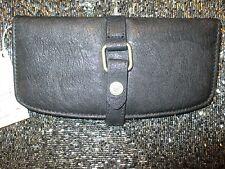 NEW* ROXY CLUTCH WALLET Handbag Bag ID VEGAN Black Faux Leather NWT