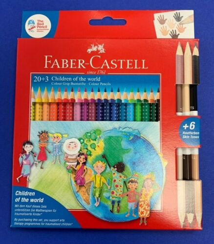 Faber Castell Color Grip Set Farbstifte Buntstifte Colour Etui inkl Hautfarben