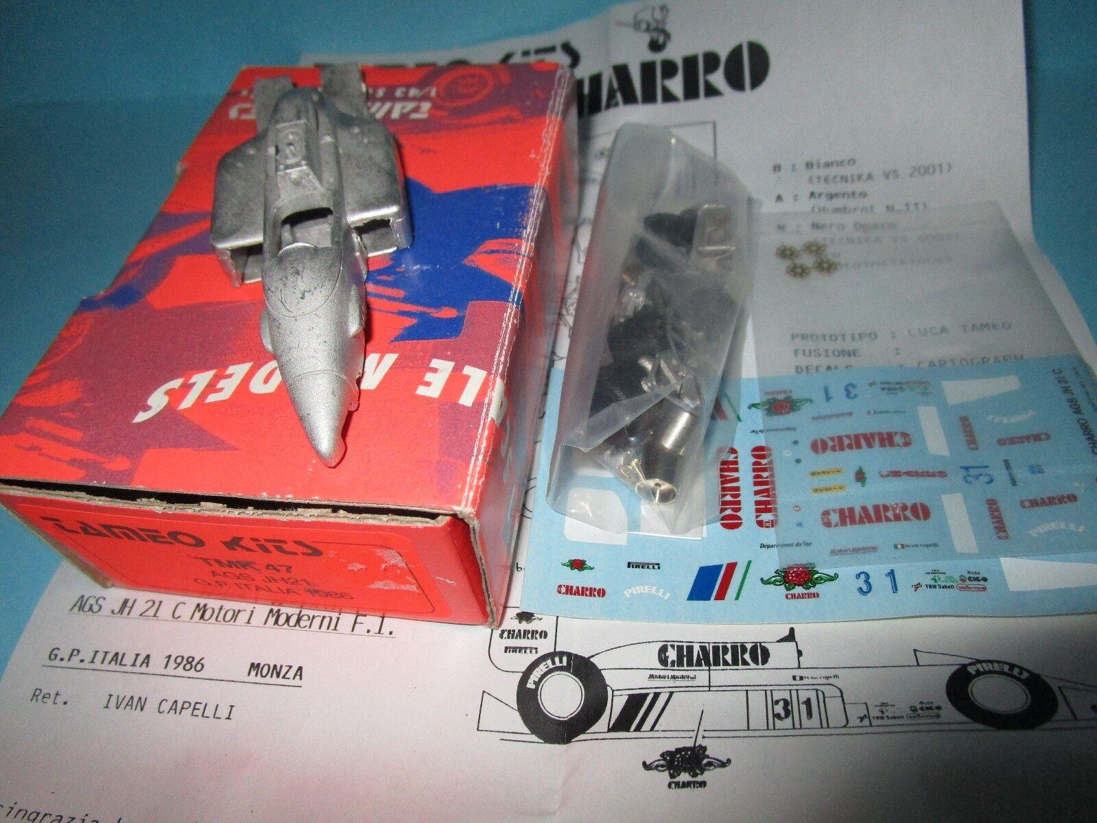 KIT à monter TAMEO F1 AGS JH 21 MOTORI MODERNI GP ITALIE MONZA CAPELLI 1986 1 43