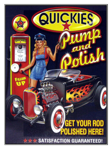 METAL VINTAGE SHABBY-CHIC TIN SIGN QUICKIES PUMP AND POLISH PLAQUE//FRIDGE MAGNET
