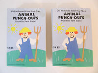 """1990 Hallmark Color-your-own """"farm Animals"""" Standing Punch-outs Lot Of 16"""