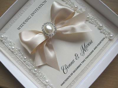 Luxury Pearl Wedding Invitation - Satin/Pearl Embellished - With / Without Box