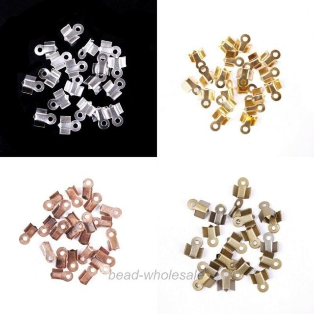Wholesale 200Pcs Silver/Gold/Copper/Bronze Metal Fold Over Crimp End Beads 6x3mm