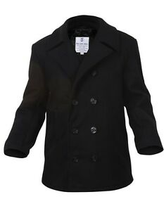 Mens Coat - Wool US Navy Type Pea Coat, Black by Rothco ALL SIZES ...