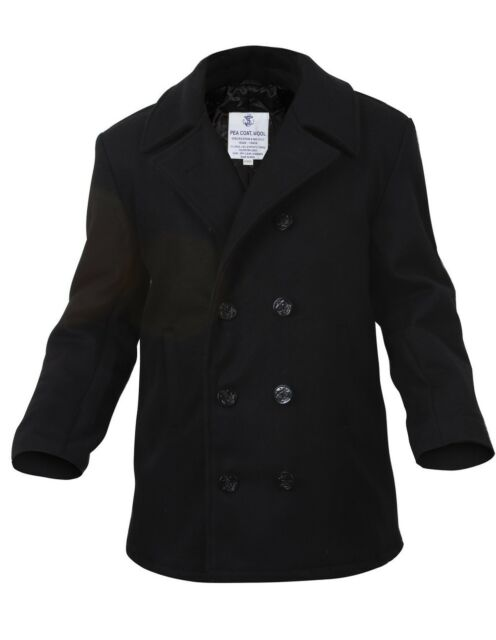 Mens Coat - Wool US Navy Type Pea Coat, Black by Rothco ALL SIZES FROM XS TO 5XL