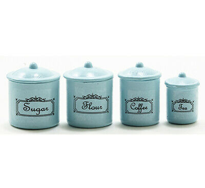 Dollhouse Miniature Blue Embossed Ceramic Kitchen Canister and Bowl Set