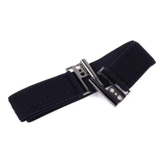 Damen Elastisch Gürtel Flache Schnalle Mode Breit 3.7cm Taillengürtel Schwarz