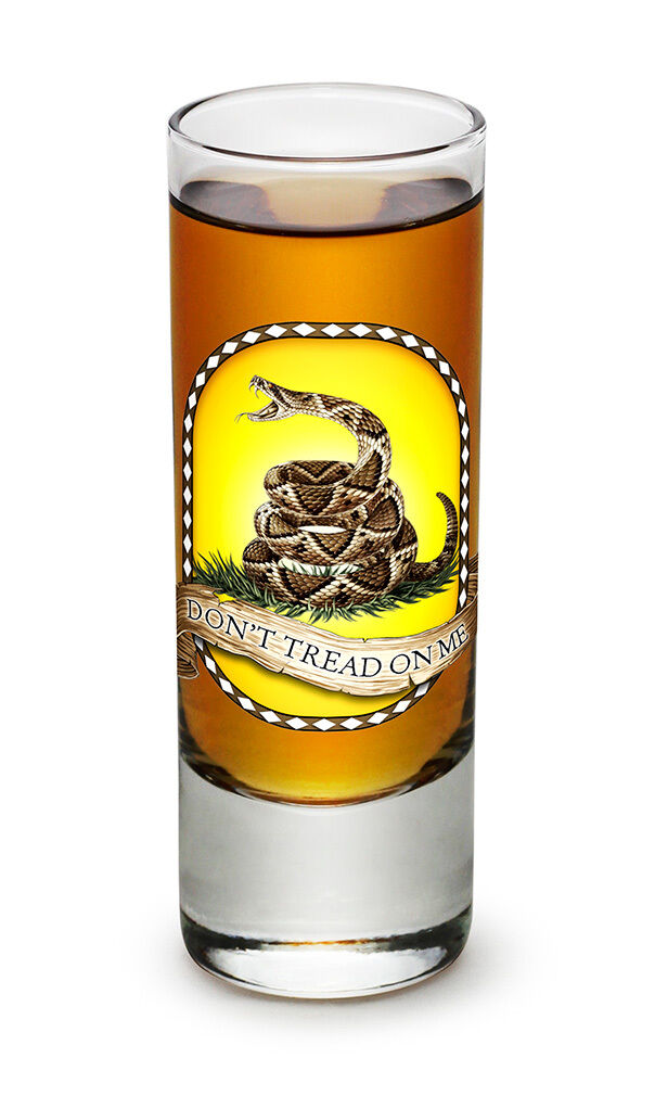 DON'T TREAD ON ME  WITH SNAKE- NEW-  2 OZ. SHOT GLASS