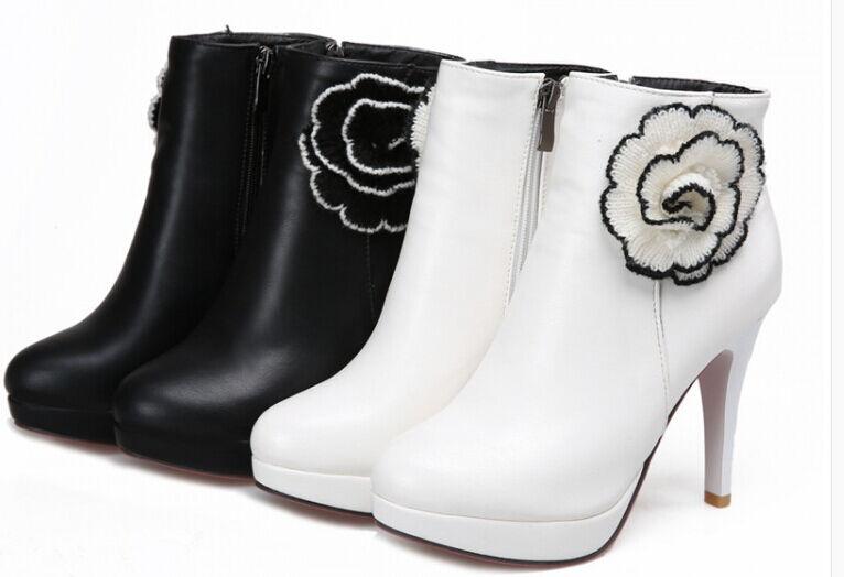 Booties Damens's boots stiletto heel 12.5 cm warm stiletto like Leder 9001