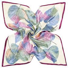 "Women's Leaves Print Fashion Head Scarf Silk-Satin Square Shawl Hijab 35""*35"""