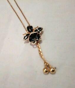 Vintage-gold-tone-black-enamel-orchid-adjustable-necklace
