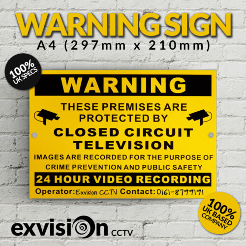 Warning Sign High Quality Aluminium Free P/&P A4 CCTV Security11.69 x 8.27 Inch