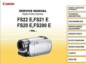 canon fs20 fs21 fs22 fs200 service repair manual ebay rh ebay com Canon FS20 Charger canon fs20 user manual