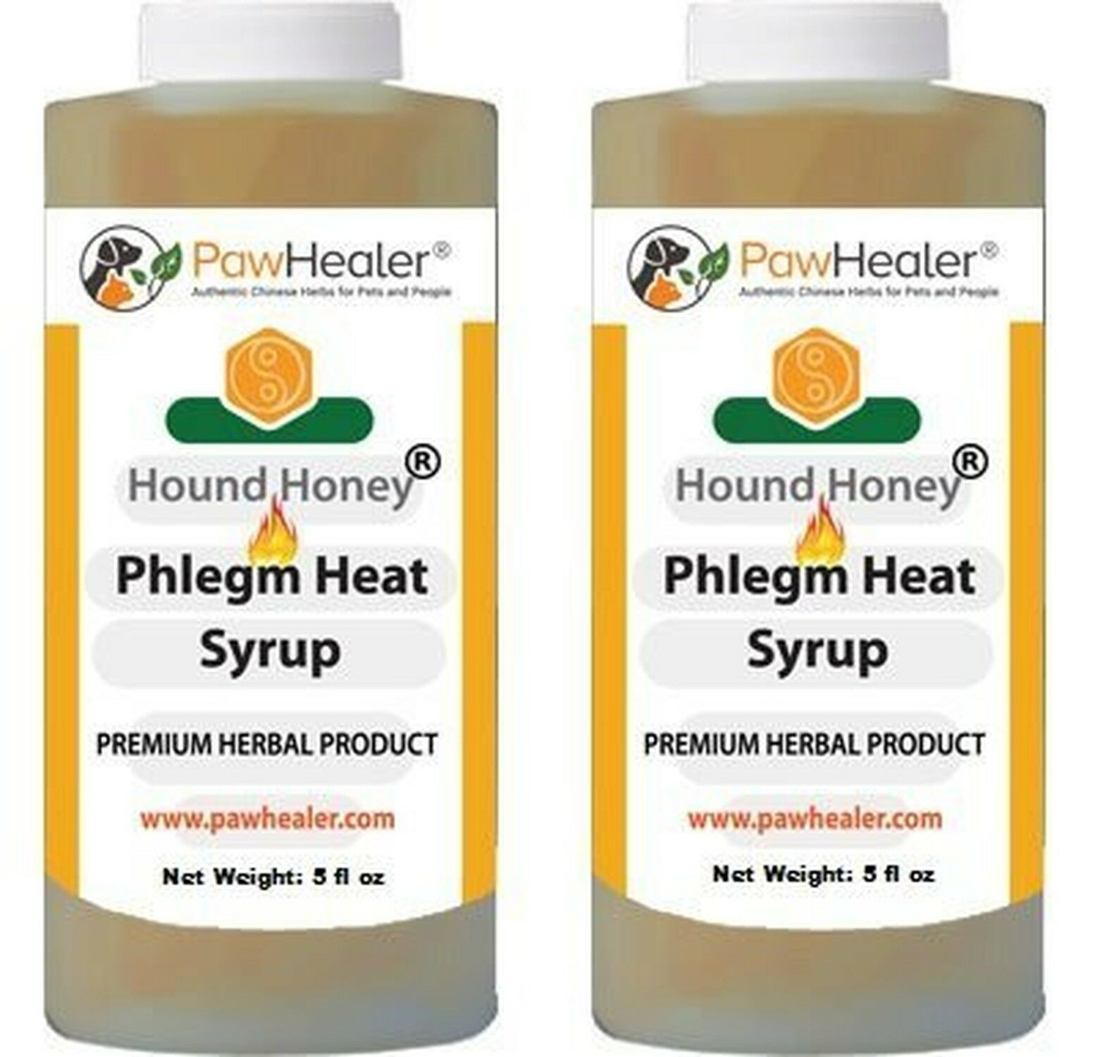 Dog Cough Remedy-HHoney Phlegm Heat-2PAK- 5 fl oz Herbal Suppressant for Trachea