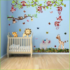 Details About Monkey Wall Stickers Animal Jungle Erfly Nursery Baby Kids Room Decal Art